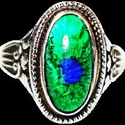 SALE Rare Foiled Peacock Eye Bohemian Art Glass Sterling Ring