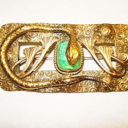 SALE PENDING Huge Egyptian Revival Snake w Czech Peking Glass Brooch