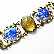 SALE PENDING BEST Early 1900s Egyptian Revival Bracelet w Genuine Jewel Scarab