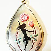 SALE Enchanting Dancing Nymph Enamel Locket German Silver OLD