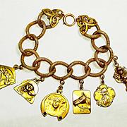 SALE Huge Art Nouveau Enamel French Medallions Charm Bracelet