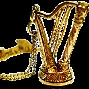 SALE Victorian Figural Harp Fob Bloodstone Seal Necklace