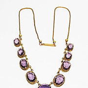 SALE Lg Fancy Set Amethyst Glass Victorian Necklace