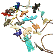 """SALE 32"""" Vintage Zuni Fetish Turquoise Bear Animal Heishi Necklace"""