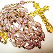 SALE PENDING GF Ornate Rosary Rare Saphiret Glowing Czech Glass Beads
