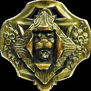 LG Victorian Art Nouveau Lion Sash Pin