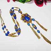 SOLD Fine Ornate Czech Jeweled Lapis Glass Lion Necklace