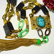SOLD OPULENT Czech Art Deco Bakelite Egyptian Revival Necklace / Belt