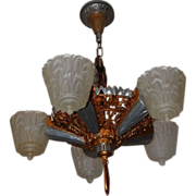 Art Deco Five Light Slip Shade Chandelier 'The Nile Group' by Meletio Electrical Supply Co.