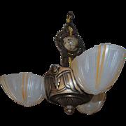 1930's Art Deco Three Light Slip Shade Chandelier by G.L.E.
