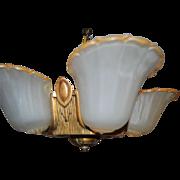 1930's Art Deco Five Light Slip Shade Chandelier