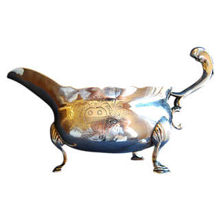Antique Sterling Silver London made Gravy Boat 1750-1751