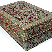 Antique Ottoman Persian Embroidered Casket Metallic Silver Embroidery