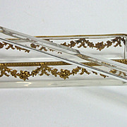 Antique French Napoleon III Crystal Dore Bronze Desk Pen Tray and Ruler