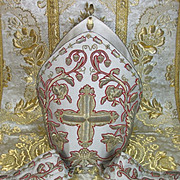 Antique French Ecclesiastical Vestment Bishops Mitre Gold Metallic Stump Work Embroidery