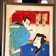 Pair of Framed 19th Century Japanese Woodcut Kabuki Actors