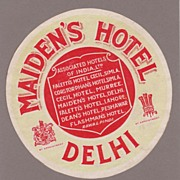 Maiden's Hotel, Delhi Luggage Label C. 1927