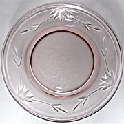 SOLD 6 Pink Wheel-Cut Salad Plates circa 1930's