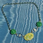 Art Deco Necklace Chromium, Enamel and Glass