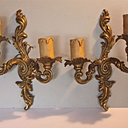 Pair of Rococo Louis XIV style gilded wall sconces