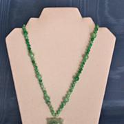 Jade Matinee Length Cicada Pendant Necklace