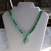 Jade Pendant Choker Length Necklace