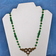 Egyptian Revival Jade and Brass Double Serpent Matinee Length Necklace