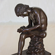 SOLD Spinario, Boy with Thorn, 19th C. Barbedienne Bronze