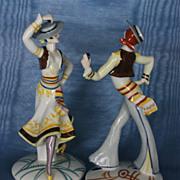 A Rare Pair of Art Deco Spanish Dancers by Emil Paul Borner
