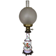 Antique Vieux Paris Electrified Oil Lamp Circa 1870's