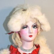 Scarlett Empress an early 30's composition and cloth boudoir doll