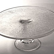 """Jeanette Glass Co. """"Harp"""" cake stand c. 1950"""