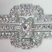 Wonderful 30s Art Deco rhinestone pin / brooch