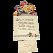 Vintage 1942 Die Cut Hardboard Calendar Roses