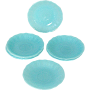 "Canadian Pyrex Robins Egg Blue 6"" Saucer in HTF Kings Crown Pattern"