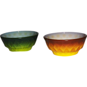 Pair of Fire King Kimberly Pattern Stacking Bowls by Anchor Hocking