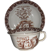 Huge Tykes' Motto Brown Transferware Cup and Saucer by British Anchor Pottery