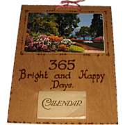 365 Bright and Happy Days 1933 Calendar with Wooden Backing