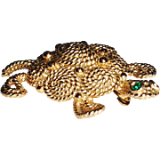 Vintage Napier Gold-tone Turtle with Green Rhinestone Eyes