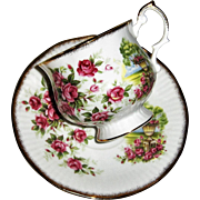 Queen's Bone China Cup and Saucer Roses and Urn by Rosina China Co. Ltd.