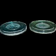 2 Hamilton Glass Co. Fruit Jar/Sealer Lids Aqua