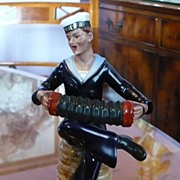 $200 SALE.Vintage Dresden Figure of A Sailor Playing The Accordion