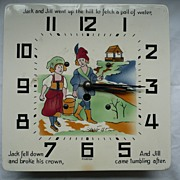"Vintage Porcelain Clock With Hand-Painted ""JACK & JILL"""
