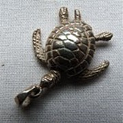 Vintage Silver Articulated Tortoise Charm
