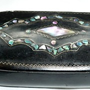 SALE! Delightful Victorian Bone/Horn Black Box With Mother-Of-Pearl Inlay