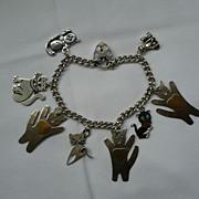 """SALE Vintage Sterling Silver """"KITTY CATS"""" Bracelet"""