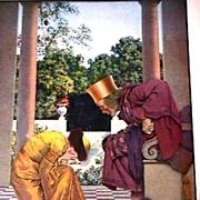 "Maxfield Parrish Original 1925 Print ""Ursula Kneeling Before the King"""