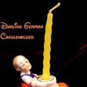 1920's German Girl Porcelain Figural Candleholder for Cake