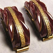 Fabulous1930's Rootbeer CARVED BAKELITE Dress Clips