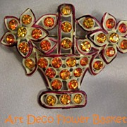 Early ART DECO Celluloid Jeweled Flower Basket Pin